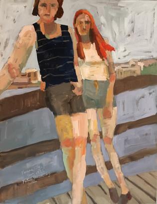 Parents, 14x18 oil by Sandi Hester