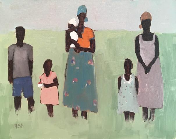 African Women & Children, 8x10 oil by Sandi Hester