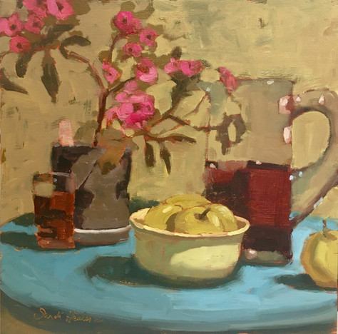 Afternoon Tea, 12x12 oil by Sandi Hester