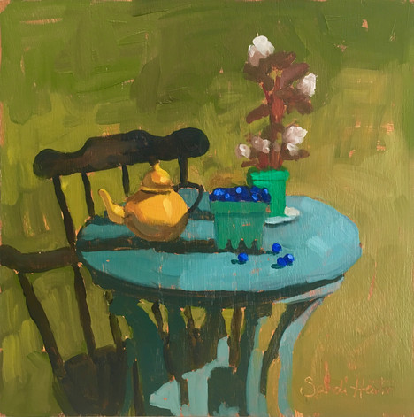 Blueberries & Begonias, 10x10 oil by Sandi Hester