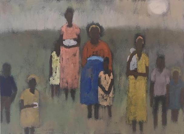 African Women & Children, 18x24 oil on paper, by Sandi Hester
