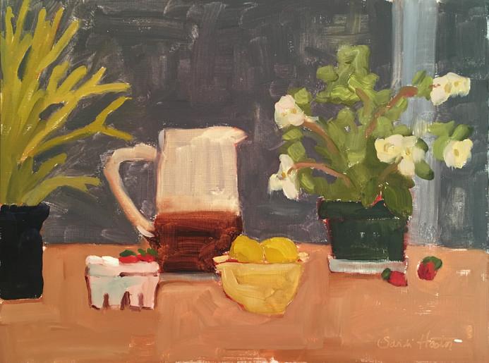 Tea and Lemons, 9x12 oil by Sandi Hester