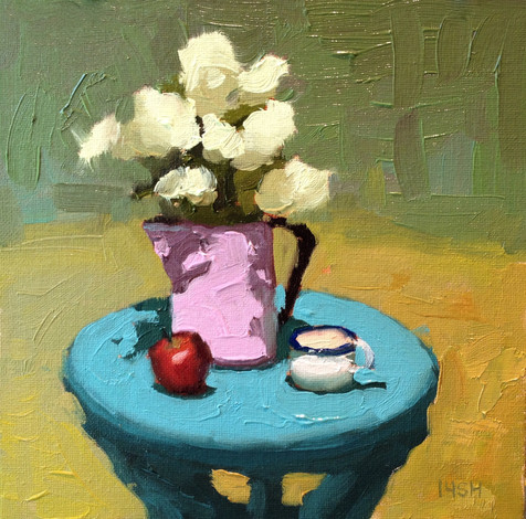 Afternoon Snack, 8x8 oil by Sandi Hester