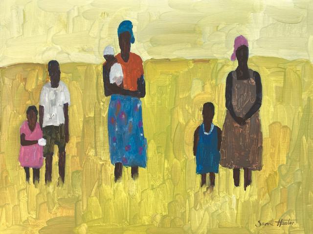 African Women & Children, oil by Sandi Hester