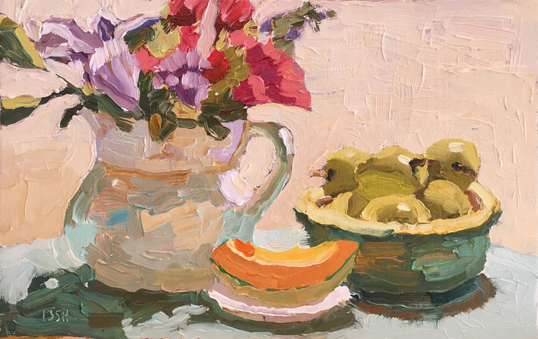 Summer Morning Breakfast, 11x7 oil by Sandi Hester