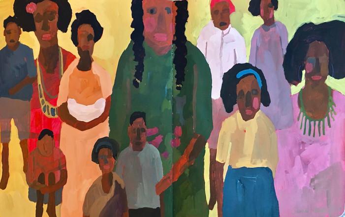 "African Women & Children, ""Squeeze In"", oil by Sandi Hester"