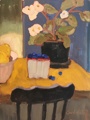 Blueberries & Begonias, 9 x12 oil by Sandi Hester