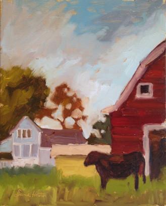 Red Barn, 8x10 oil by Sandi Hester