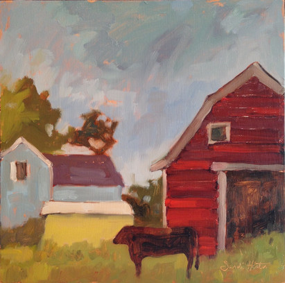 Red Barn, 12x12 oil by Sandi Hester