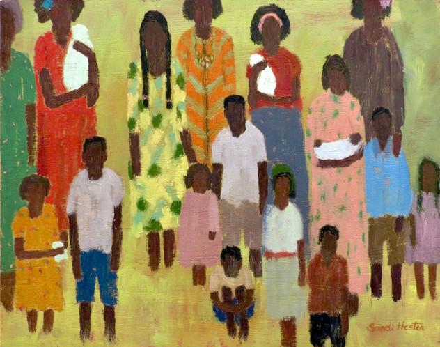 "African Women & Children, ""Squeeze In"",11x14 oil, by Sandi Hester"