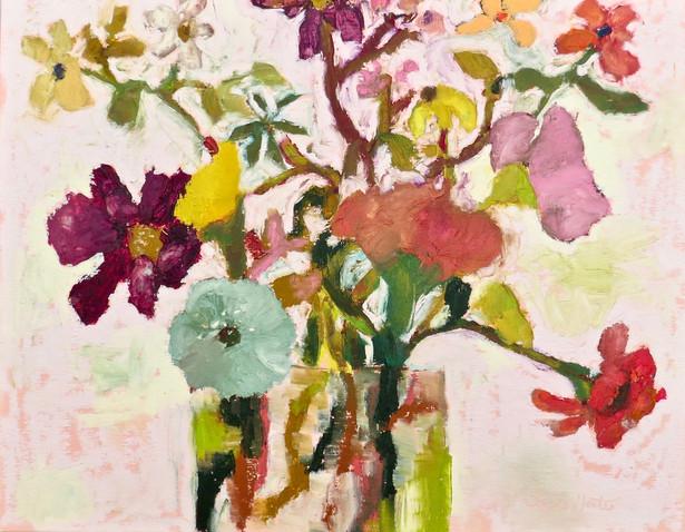 Flowers, 14x18 oil, by Sandi Hester