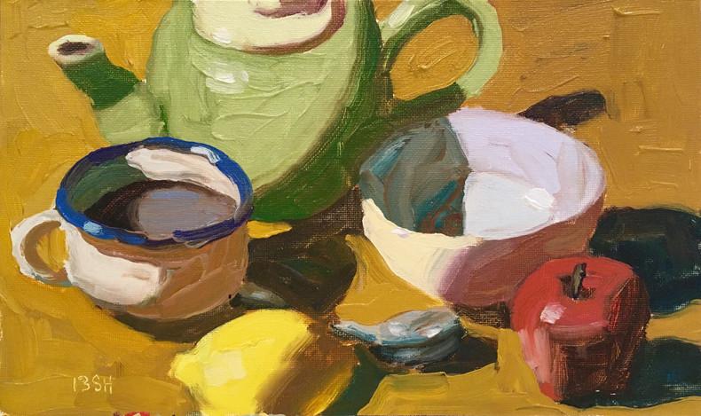 Summer Morning Tea, 11x6.5 oil by Sandi Hester