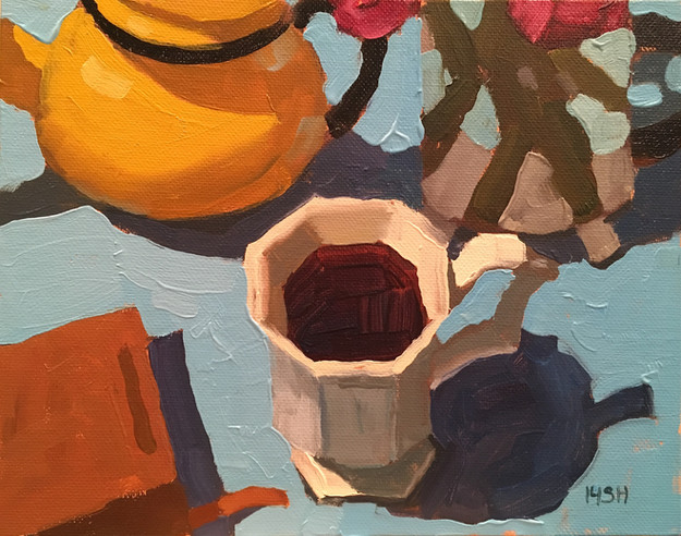 Coffee & Flowers, 8x10 oil by Sandi Hester