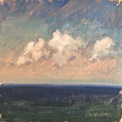 Sea & Sky, 8x8 oil by Sandi Hester