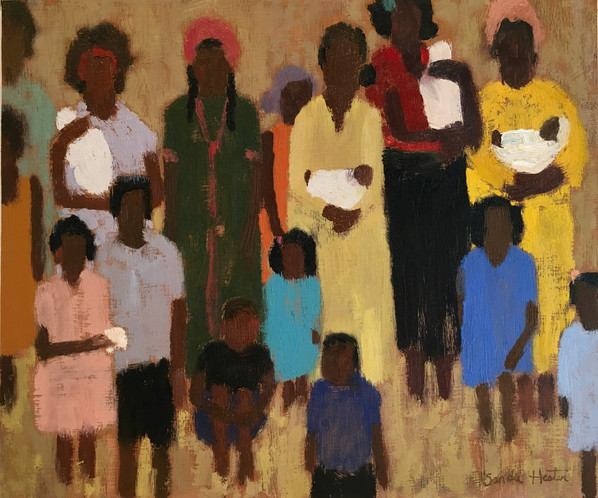 "African Women & Children, ""Squeeze In"" 9x12 oil by Sandi Hester"