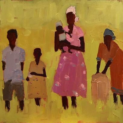 African Women & Children, 10x10 oil by Sandi Hester