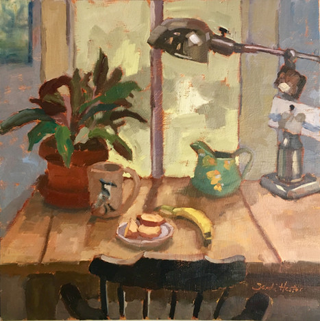 The Studio, 12x12 oil by Sandi Hester