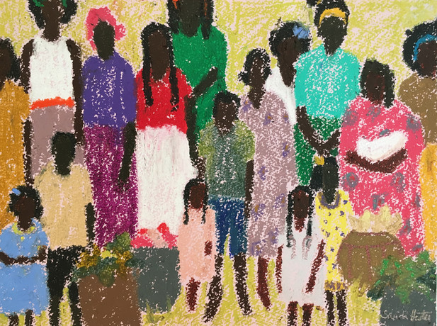"""African Women & Children,African Women & Children, """"Squeeze In"""", 9x12 oil pastel, by Sandi Hester"""
