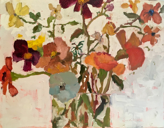 Flowers, 11x14 oil by Sandi Hester