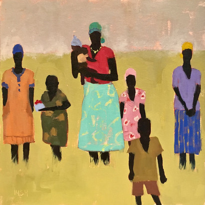 African Women & Children, 12x12 oil by Sandi Hester