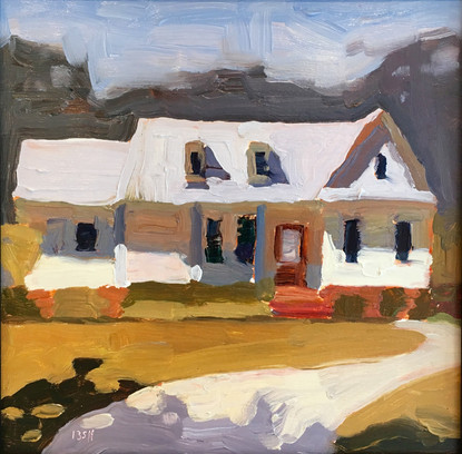 Our Home, 8x8 oil by Sandi Hester