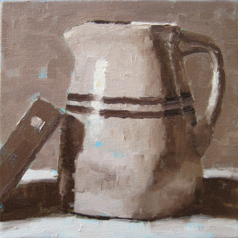 Milk Jug, 10x10 oil by Sandi Hester