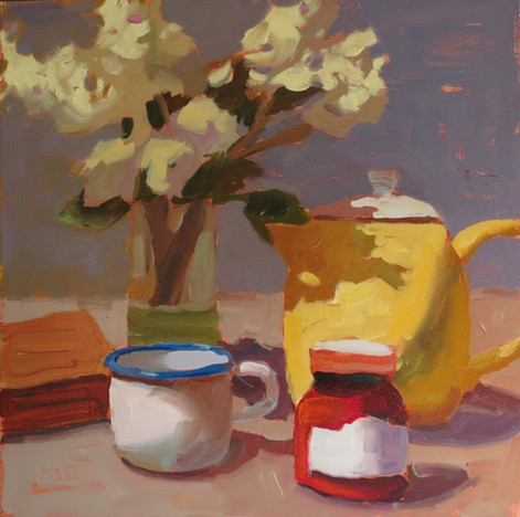 Marmalade Morning, 12x12 oil by Sandi Hester