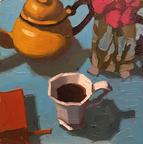 Morning Coffee, 10x10 oil by Sandi Hester