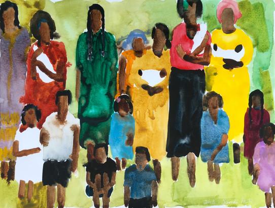 African Women & Children, 9x12 watercolor by Sandi Hester