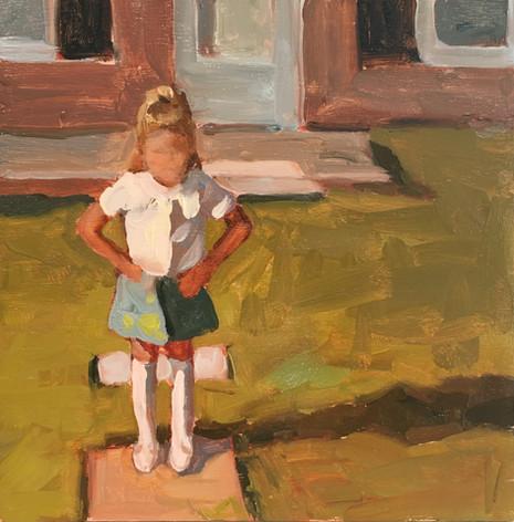 Jackie, 8x8 oil by Sandi Hester