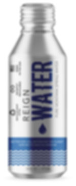 Canned Water.  Bottled canned drinking water. 16oz aluminum bottled water from Reign Water. Sustainable bottled water.  100% rcyclable aluminum can.