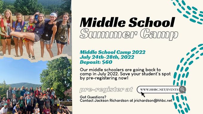 Middle School Camp Pre-Registration