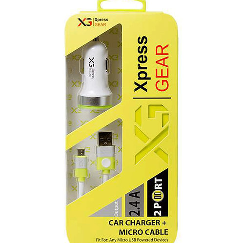 111 - 2.4 Dual Samsung/Micro V/8 Car Charger W/ Cable