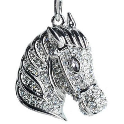 HORSE HEAD KEYCHAIN W RHINESTONE CRYSTALS KC3