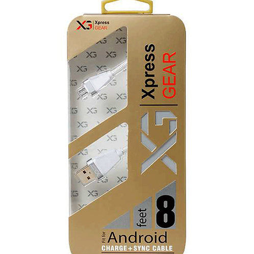 """178 - 8"""" feet Sumsung/Android V/8 Silver Braided Cable"""