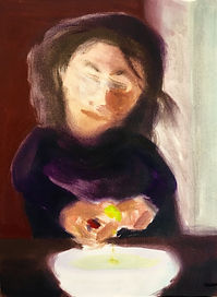 Frau mit Limette2019 Öl auf Papier 24 x 18 cm