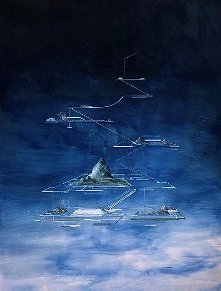 Raumschiff im Werden (Orbitschwebe)2020 Tempera auf Leinwand 200 x 150 cm 