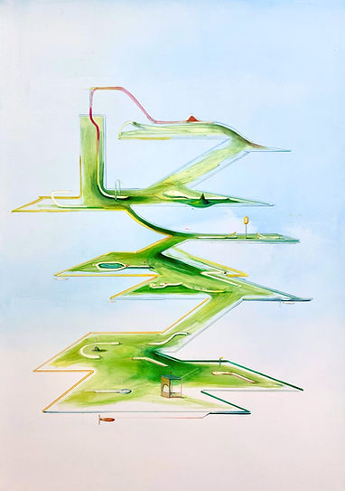 Minigolfraumschiff 2020 Tempera auf Leinwand 100 x 80 cm  