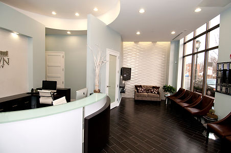 The reception area of Uptown Dentistry.