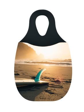 Reliza Lixeira de Carro em Neoprene Personalizada - Prancha na Praia so Por do Sol