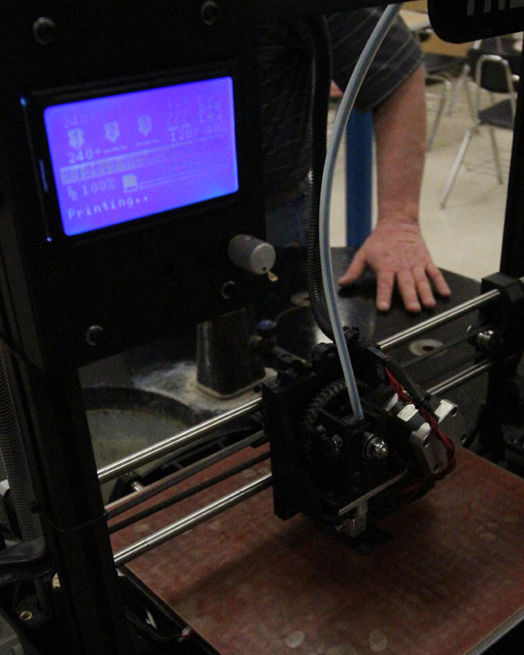 The 3D Printer in Darcy Schindler's room goes to work on producing the nose fins for the team's car.