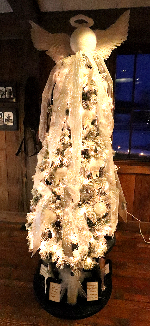 By Lower Valley Tree Huggers: Gail Leeper, Jo Radtke, Annette Ramberg, Jackie Bolster, Monica Prince & Danielle Bergerson Sponsored by Angelo Cattle Company  This is a floating tree with an Angel that has just dusted her wings and is watching over the wonder of Christmas.  $600