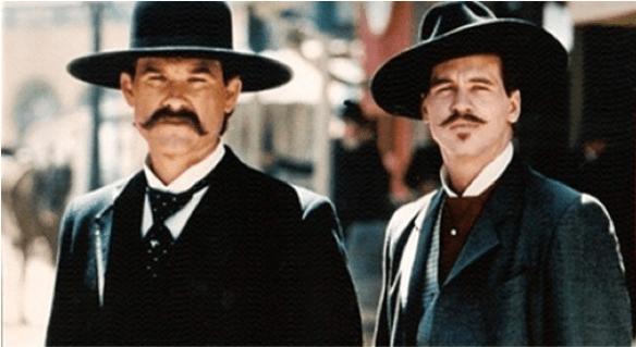 Kurt Russell as Wyatt Earp and Val Kilmer as Doc Holliday