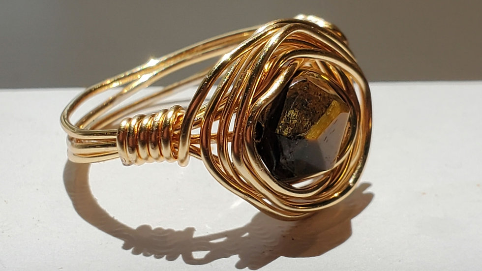 Tiger Eye Tetrahedron Star Cut Gold Wire Wrapped Rings