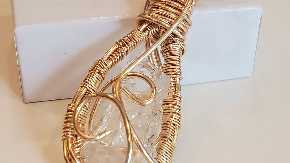 Herkimer Diamond  Gold Wire Wrapped Pendant