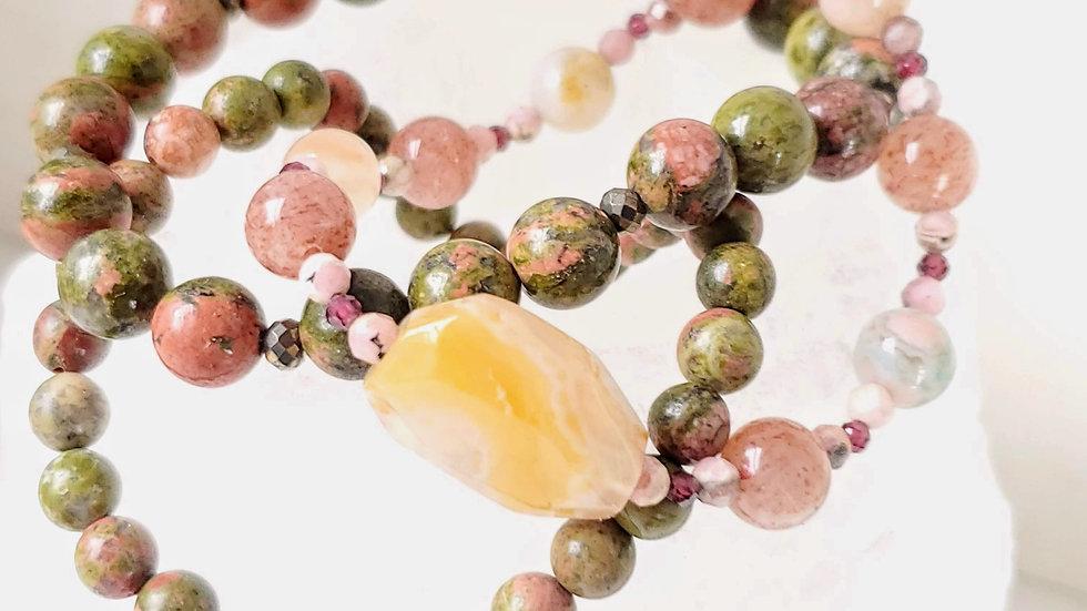 Cherry Blossom Agate, Unakite, Strawberry Quartz, Rhodonite, Garnet & Pyrite - G