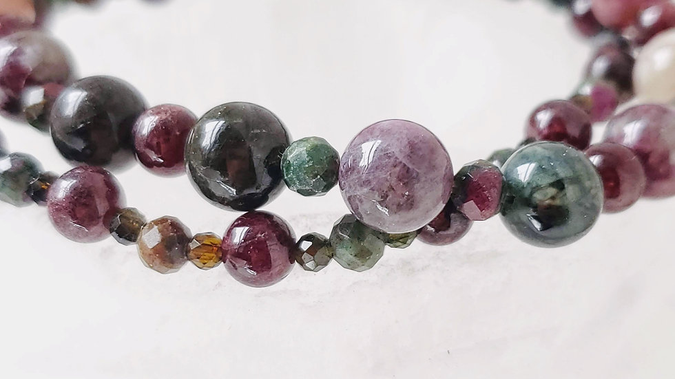 Multicolored Round Tourmaline, Faceted Ruby Zosite and Garnet Crystal Bracelet