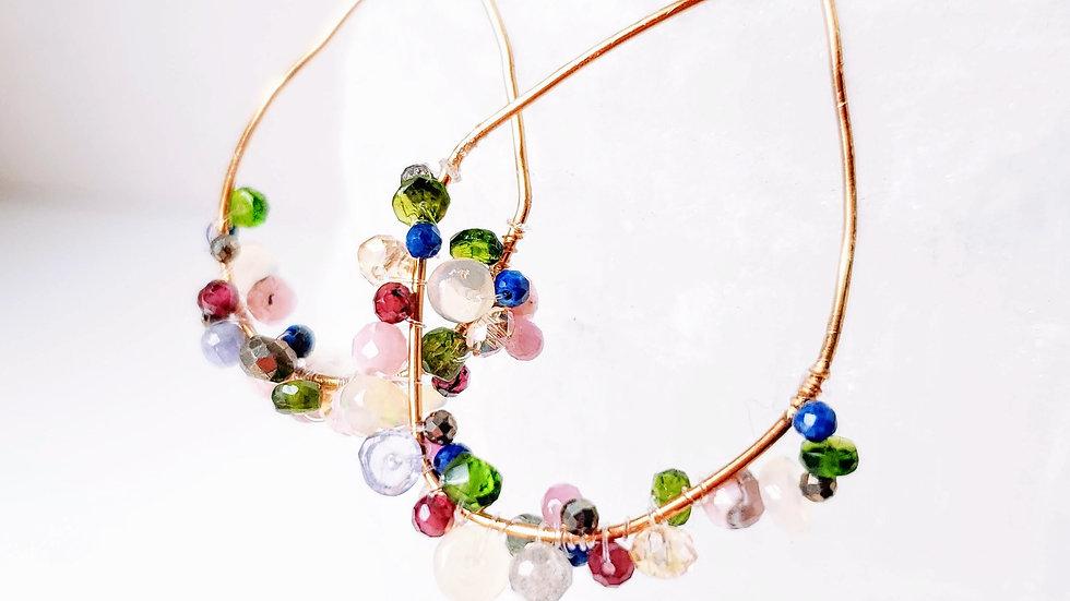 Crystal Gemstone Earrings - Multicolored Faceted Gemstone - Healing Energy - Bal