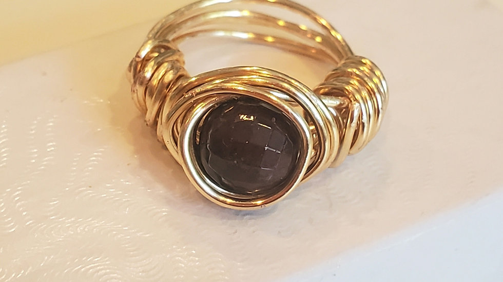 Garnet Gold Wire Wrapped Rings- Gemmy Faceted