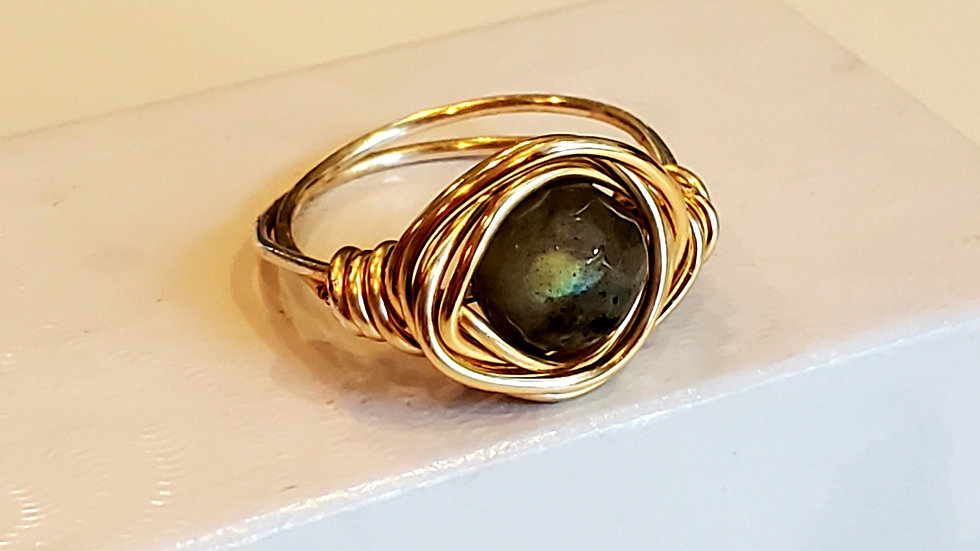 Labradorite Gold Wire Wrapped Rings -AAA Gemstone
